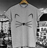 Cat Face Beard Print T-Shirt