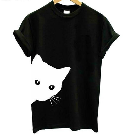 Peeking Cat Side Print T-Shirt