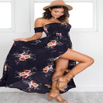 Side Split Off Shoulder Floral Print Bohemian Dress