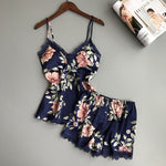Satin Flower Summer Pajama Set