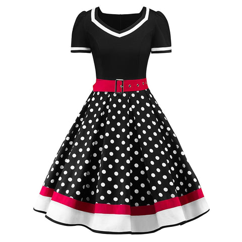 Vintage Polka Dot V-Neck Sleeveless 50s Dress