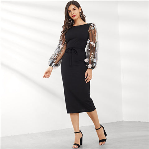 Black Applique Embroidered Floral Sleeve Pencil Dress