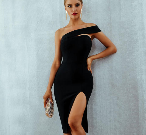 Elegant One Shoulder Midi Party Dress