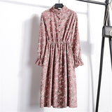 Corduroy High Elastic Waist Floral Print Dress - 23 Colors