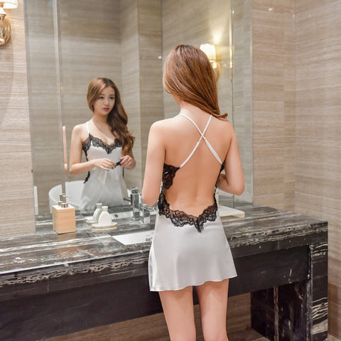 Lace Satin Backless Sexy Sleepwear