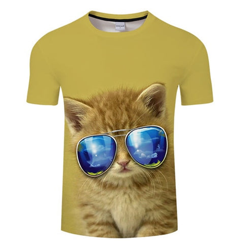 3D Cool Cat Print T-Shirt