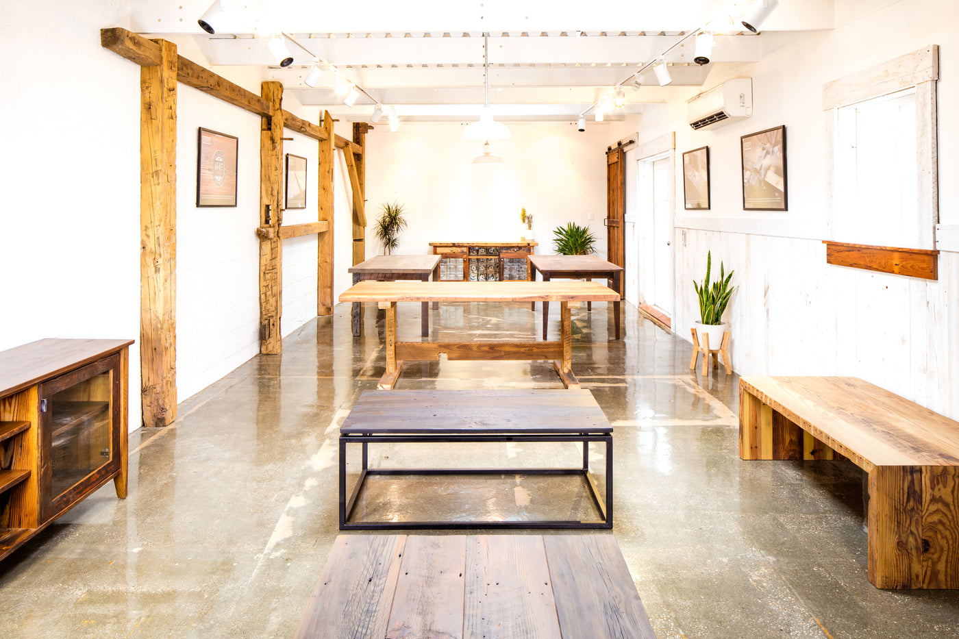 Reclaimed wood furniture showroom