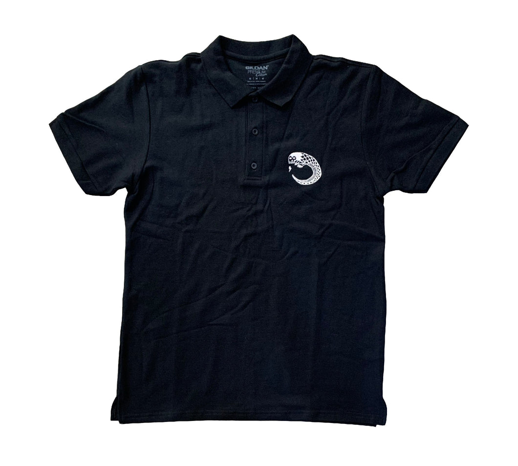 James Enox Scull Snake Polo T-Shirt Black