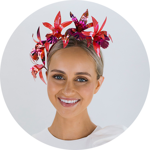 Orchid headpiece made from sequin film