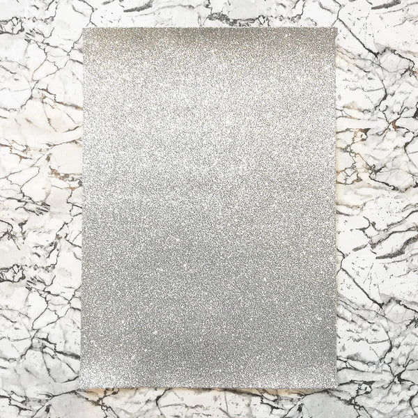 FINE Glitter Fabric A4 Sheet; Metallic Silver