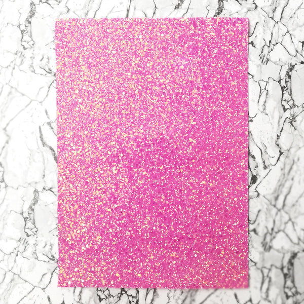 CHUNKY Glitter Fabric A4 Sheet; Bright Pastel Pink AB