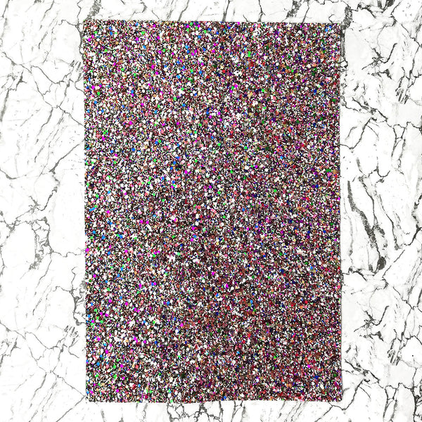 CHUNKY Glitter Fabric A4 Sheet; Metallic Black Multi Mix
