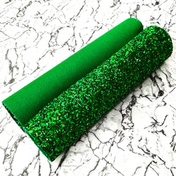 CHUNKY Glitter Fabric A4 Sheet; Metallic Emerald Green