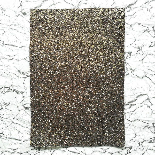 CHUNKY Glitter Fabric A4 Sheet; Metallic Brown