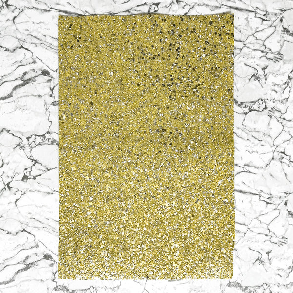 CHUNKY Glitter Fabric A4 Sheet; Metallic Gold Silver Mix