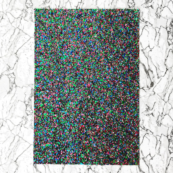 CHUNKY Glitter Fabric A4 Sheet; Metallic Emerald Royal Red Mix