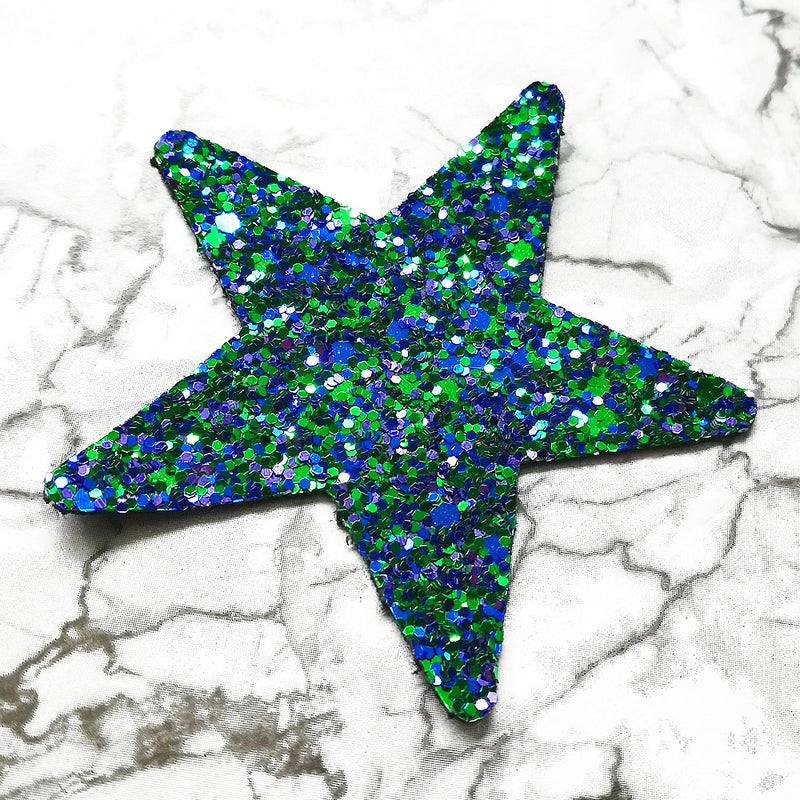 CHUNKY Glitter Fabric A4 Sheet; Metallic Green Blue Mix