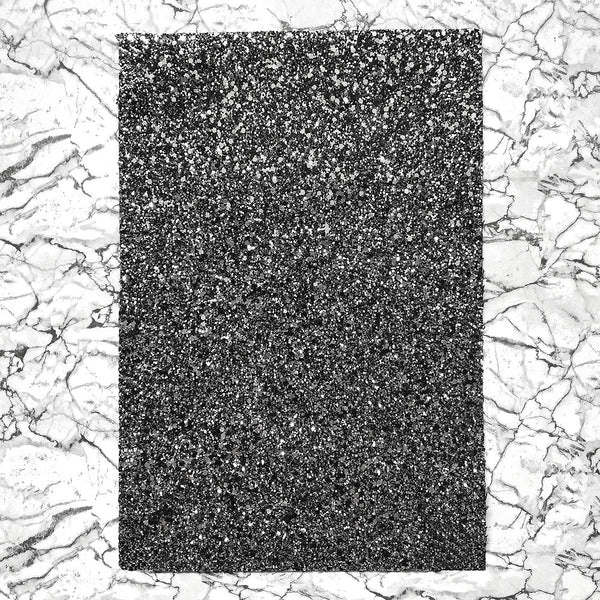 CHUNKY Glitter Fabric A4 Sheet; Metallic Black Grey Mix