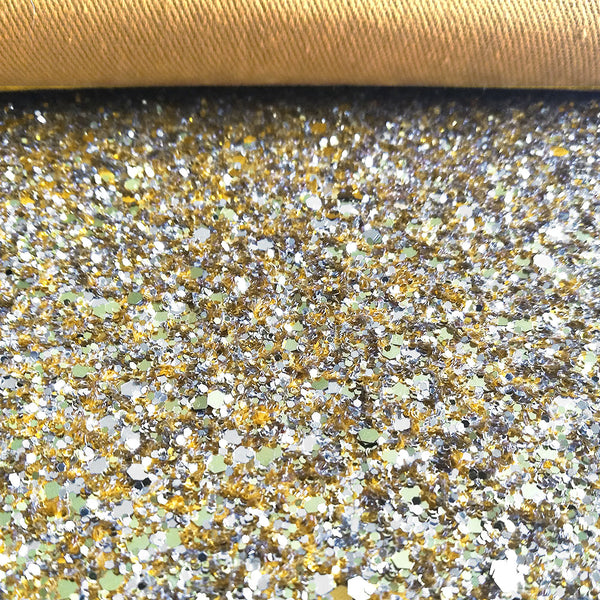 CHUNKY Glitter Fabric Metre Rolls; Metallic Gold Silver Mix