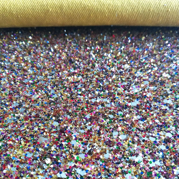 CHUNKY Glitter Fabric Metre Rolls; Metallic Gold Multi Mix
