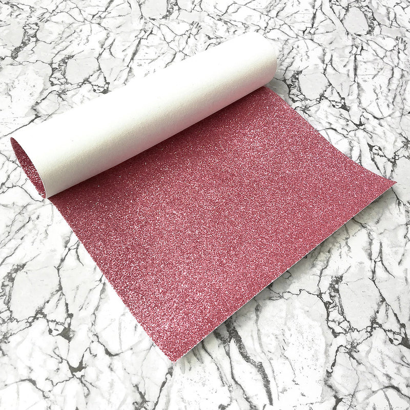 FINE Glitter Fabric A4 Sheet; Metallic Salmon Pink