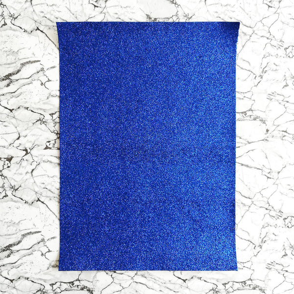 FINE Glitter Fabric A4 Sheet; Metallic Royal Blue