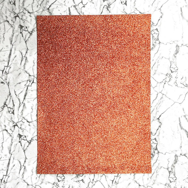 FINE Glitter Fabric A4 Sheet; Metallic Orange