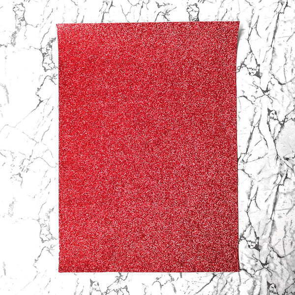 FINE Glitter Fabric A4 Sheet; Metallic Red