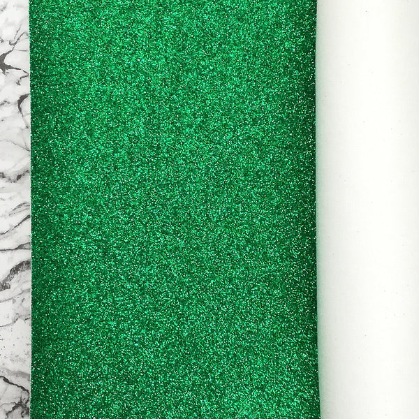 FINE Glitter Fabric Metre Rolls; Metallic Emerald Green