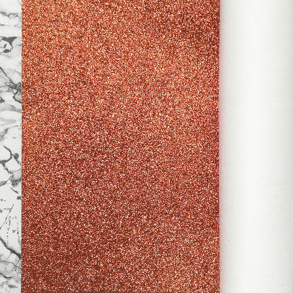 FINE Glitter Fabric Metre Rolls; Metallic Orange