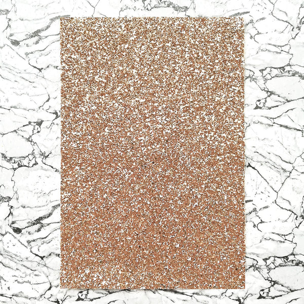 CHUNKY Glitter Fabric A4 Sheet; Metallic Rose Gold