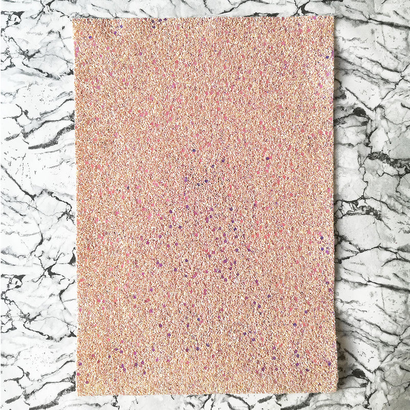CHUNKY Glitter Fabric A4 Sheet; Metallic Salmon AB