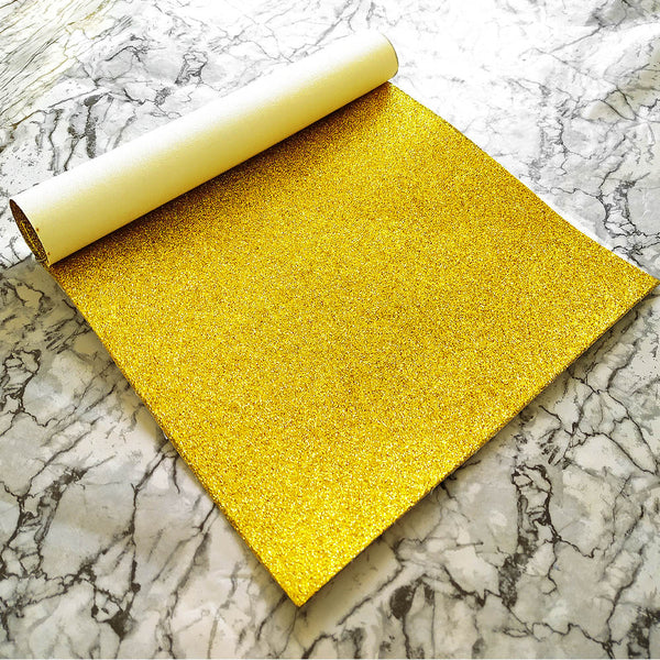 FINE Glitter Fabric A4 Sheet; Metallic Yellow Gold