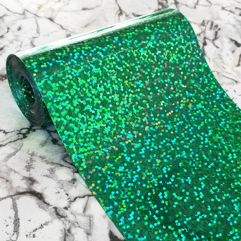 PVC Sequin Film; Metallic Hologram Green Turquoise