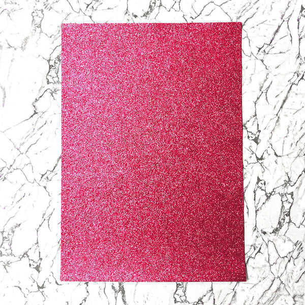 FINE Glitter Fabric A4 Sheet; Metallic Dark Pink