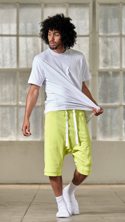 ACID YELLOW DROP CROTCH SHORT