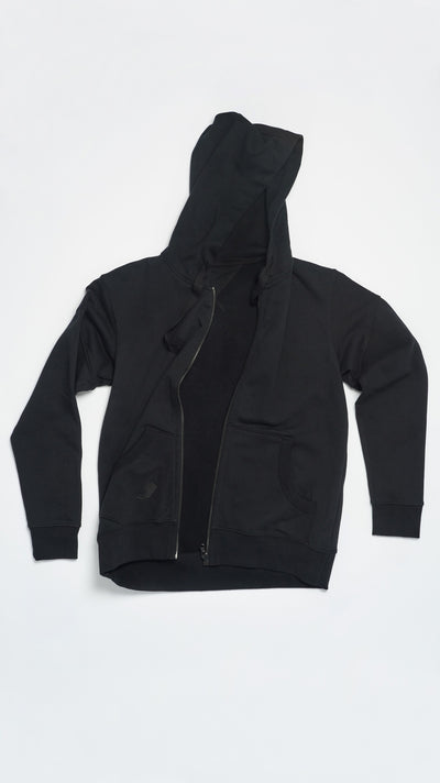 BLACK ZIP UP HOODIE
