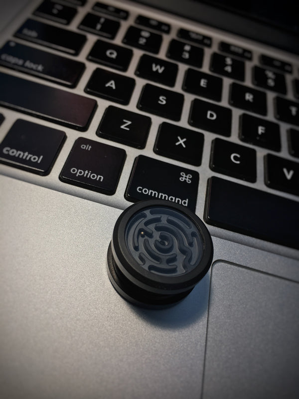 Maze Button - Black Coated Titanium Version