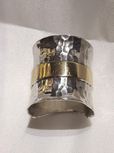 Hammered Sterling Silver Ring with Fixed 10k Gold Band