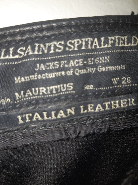 "All Saints ""Mauritius""  Spitalfield, Leather Pants - Excellent Used Condition"