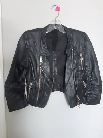 Leather Moto-Style Jacket by Sylvie Schimmel - Excellent Used Condition