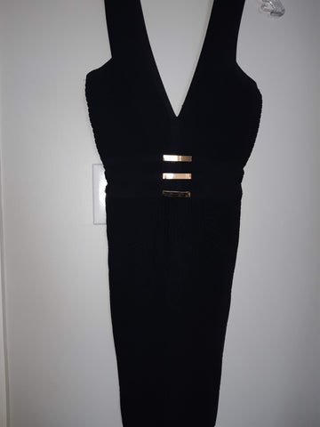 "BeBe Deep ""V"" LBD With Mesh Cut Outs @ Waist - Like New Condition"
