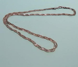 "Vintage Sterling Silver, 16"", Braided Necklace, Made in Italy"