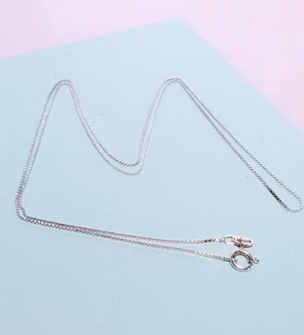 "Vintage 24"" Sterling Silver Box Chain Necklace, Made in Italy"