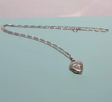"Vintage Sterling Silver 18"" Figaro Chain by Vior, Made in Italy,  with Sterling Locket"