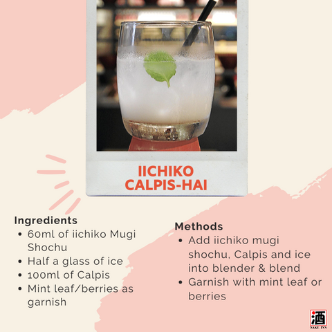 iichiko Mugi Shochu cocktail recipe: iichiko calpis-hai