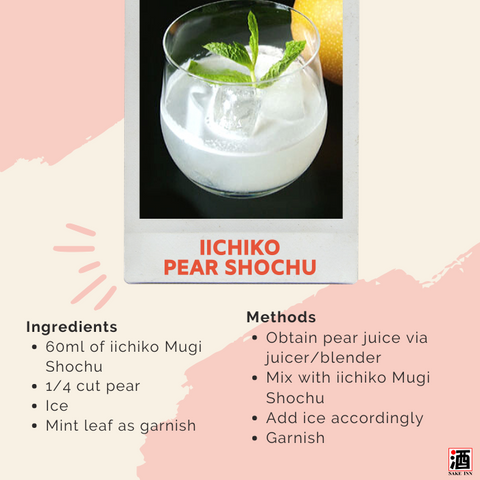 iichiko Mugi Shochu cocktail recipe: Pear Shochu