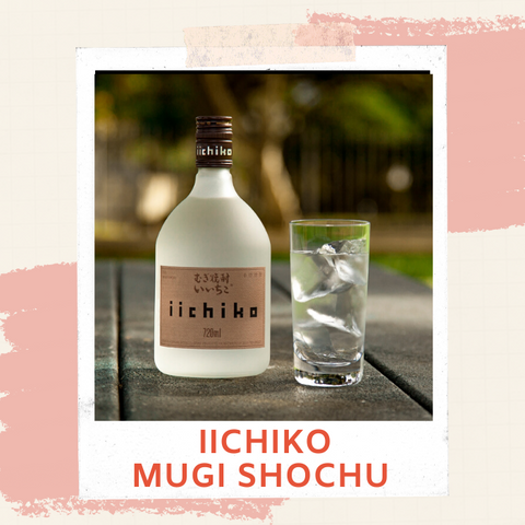 iichiko Mugi (Barley) Shochu bottle and glass