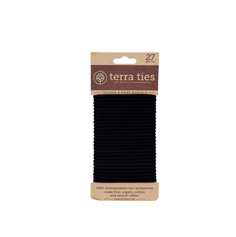 Made from 100% organic cotton and natural rubber, these Biodegradable Hair ties are stronger, softer, and more durable than synthetic ones made from plastic. Comes in a pack of 27 biodegradable and compostable hair ties. Shipped with plastic free shipping materials. Shop now at rplanetshop.com.
