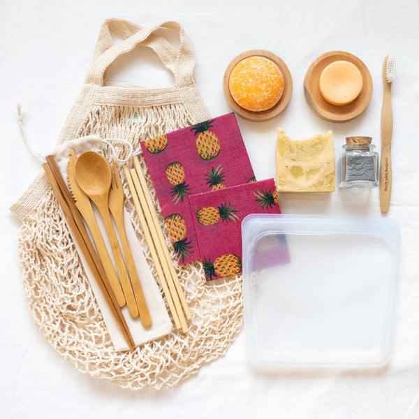 A box of eco-friendly bath & body essentials built to give you all of the basics for a big change in your home. Includes 10 zero waste, vegan, organic, and all-natural products. Shipped with plastic free shipping materials. Shop now at rplanetshop.com.
